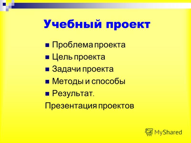 Проблема проекта Цель проекта Задачи проекта Методы и способы Результат. Презентация проектов