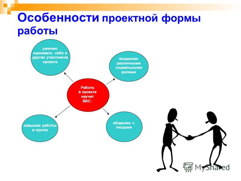 Особенности проектной формы работы Работа в проекте научит ВАС: навыкам работы в группе общению с людьми владению различными социальными ролями умению оценивать себя и других участников проекта