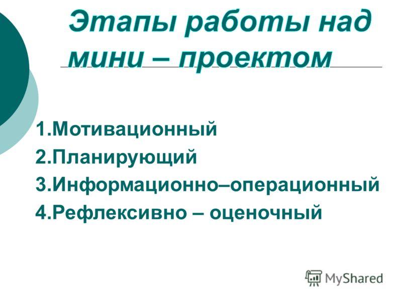 1.Мотивационный 2.Планирующий 3.Информационно–операционный 4.Рефлексивно – оценочный