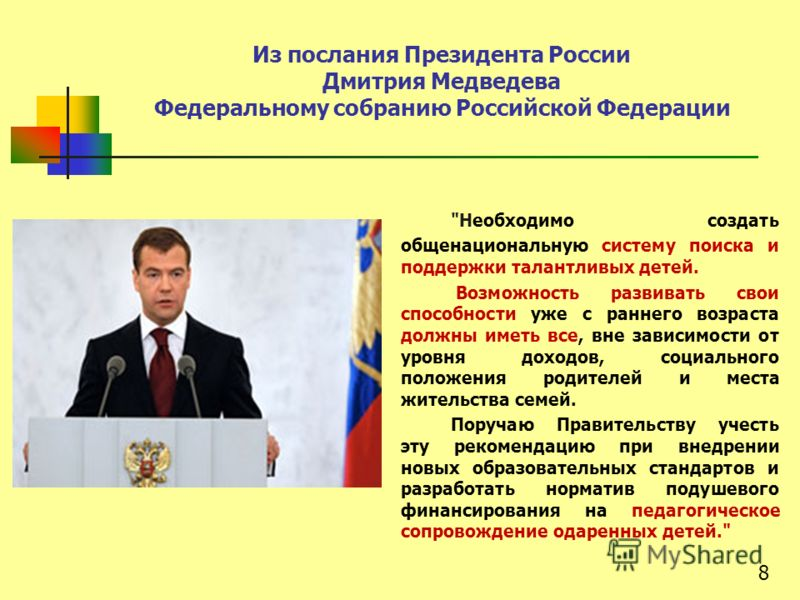 Из послания Президента России Дмитрия Медведева Федеральному собранию Российской Федерации