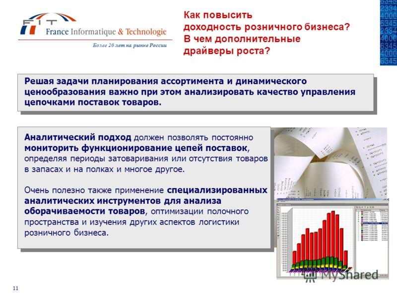 Более 20 лет на рынке Россиилет на рынке России 11 Как повысить доходность розничного бизнеса? В чем дополнительные драйверы роста? Решая задачи планирования ассортимента и динамического ценообразования важно при этом анализировать качество управлени