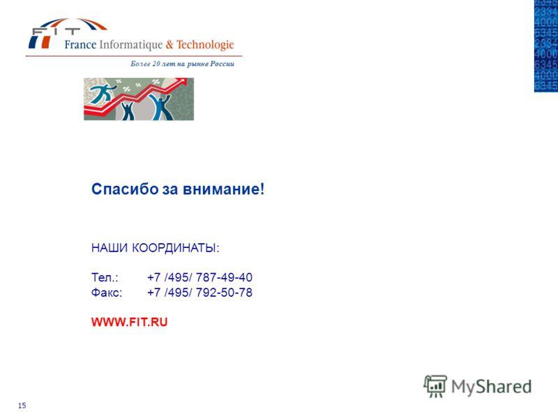Более 20 лет на рынке Россиилет на рынке России 15 НАШИ КООРДИНАТЫ: Тел.: +7 /495/ 787-49-40 Факс:+7 /495/ 792-50-78 WWW.FIT.RU Спасибо за внимание!