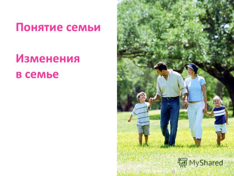 Понятие семьи Изменения в семье 13