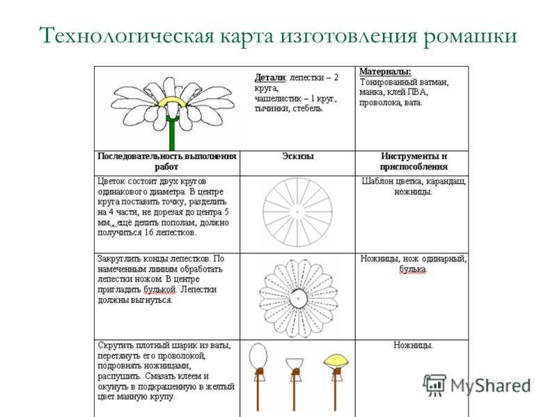 Технологическая карта изготовления ромашки