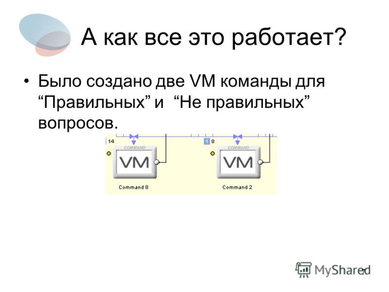 7 А как все это работает? Было создано две VM команды дляПравильных и Не правильных вопросов.