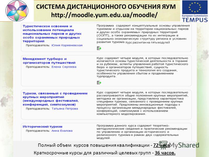 СИСТЕМА ДИСТАНЦИОННОГО ОБУЧЕНИЯ ЯУМ http://moodle.yum.edu.ua/moodle/ Полный объем курсов повышения квалификации - 72 часа. Краткосрочные курсы для различный целевых групп - 36 часов. Курс рассчитан на пять модулей