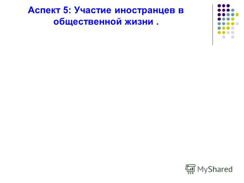 Аспект 5: Участие иностранцев в общественной жизни.