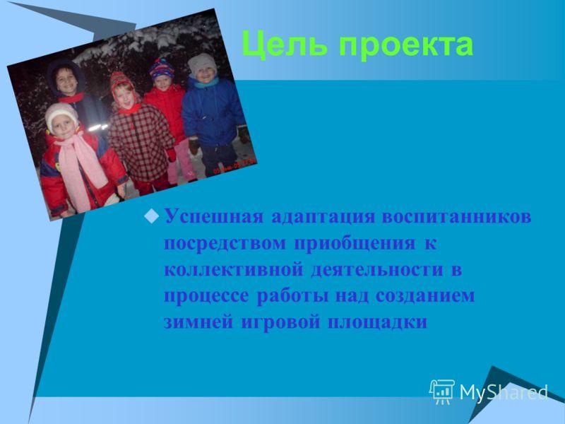 Цель проекта Успешная адаптация воспитанников посредством приобщения к коллективной деятельности в процессе работы над созданием зимней игровой площадки