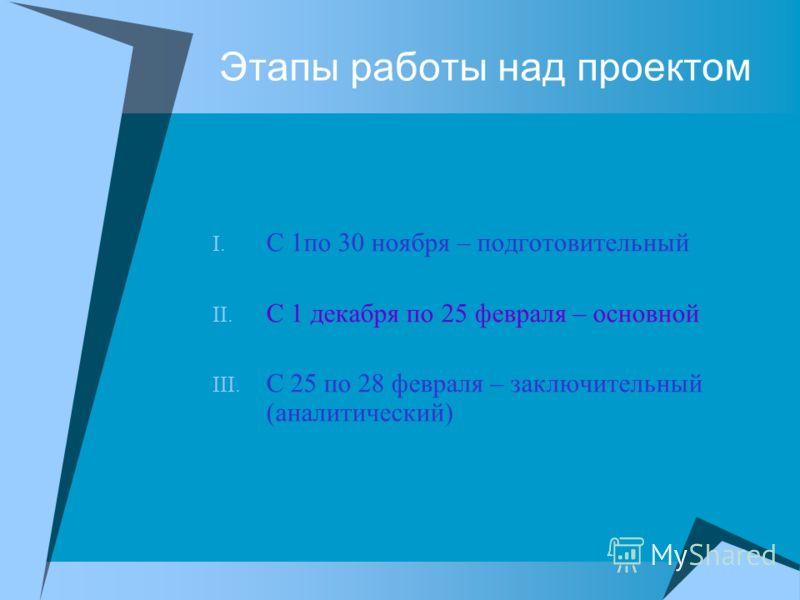 Этапы работы над проектом I. С 1по 30 ноября – подготовительный II. С 1 декабря по 25 февраля – основной III. С 25 по 28 февраля – заключительный (аналитический)