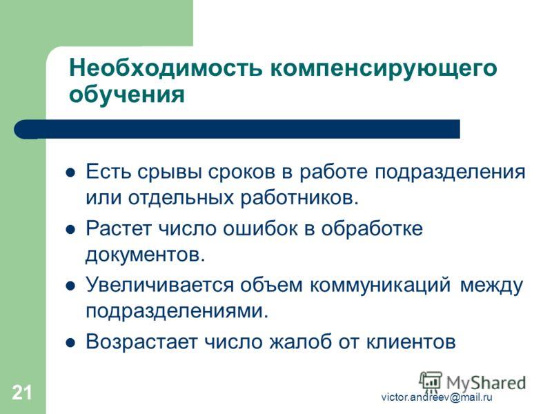 victor.andreev@mail.ru 21 Необходимость компенсирующего обучения Есть срывы сроков в работе подразделения или отдельных работников. Растет число ошибок в обработке документов. Увеличивается объем коммуникаций между подразделениями. Возрастает число ж