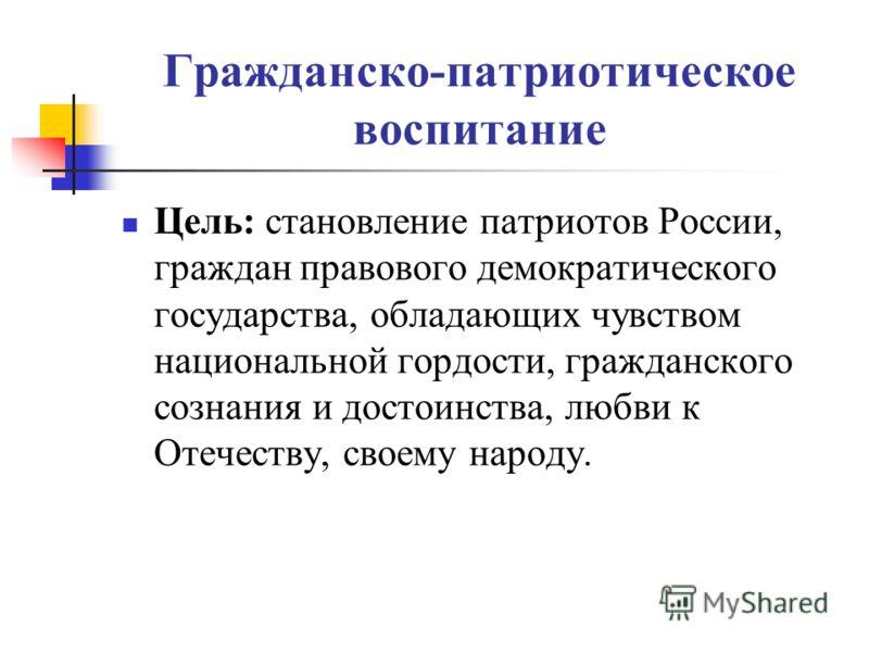 Гражданско-патриотическое воспитание Цель: становление патриотов России, граждан правового демократического государства, обладающих чувством национальной гордости, гражданского сознания и достоинства, любви к Отечеству, своему народу.
