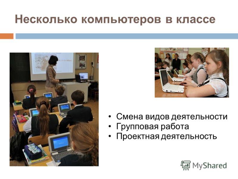 Несколько компьютеров в классе Смена видов деятельности Групповая работа Проектная деятельность
