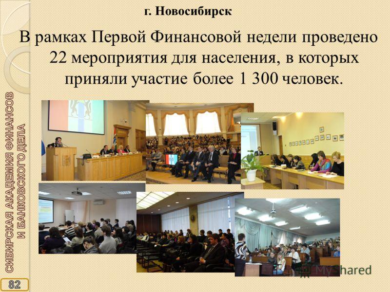 В рамках Первой Финансовой недели проведено 22 мероприятия для населения, в которых приняли участие более 1 300 человек. г. Новосибирск
