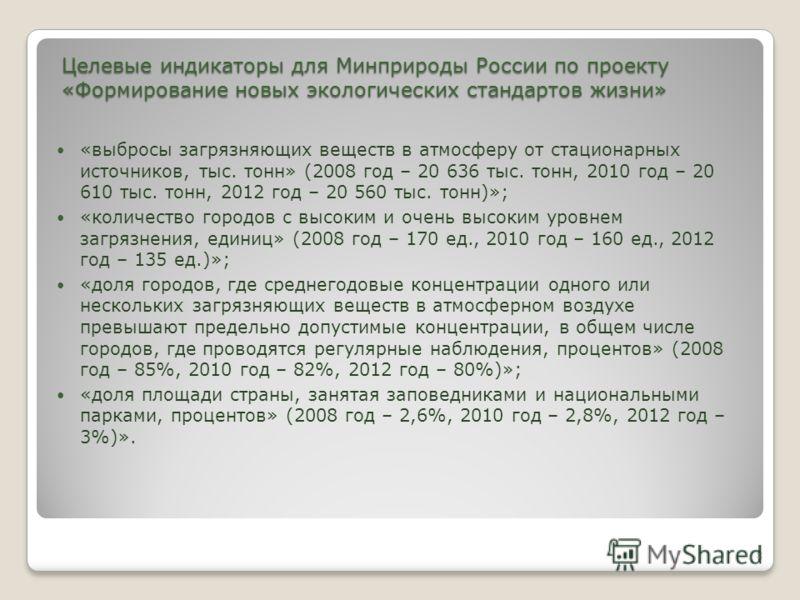 Целевые индикаторы для Минприроды России по проекту «Формирование новых экологических стандартов жизни» «выбросы загрязняющих веществ в атмосферу от стационарных источников, тыс. тонн» (2008 год – 20 636 тыс. тонн, 2010 год – 20 610 тыс. тонн, 2012 г