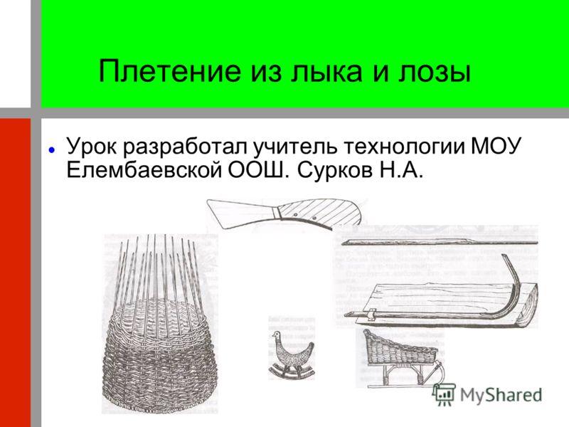 Плетение из лыка и лозы Урок разработал учитель технологии МОУ Елембаевской ООШ. Сурков Н.А.