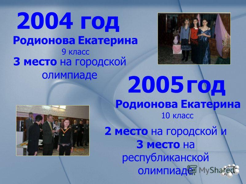 2004 год 3 место на городской олимпиаде 2005 год Родионова Екатерина 9 класс Родионова Екатерина 10 класс 2 место на городской и 3 место на республиканской олимпиаде