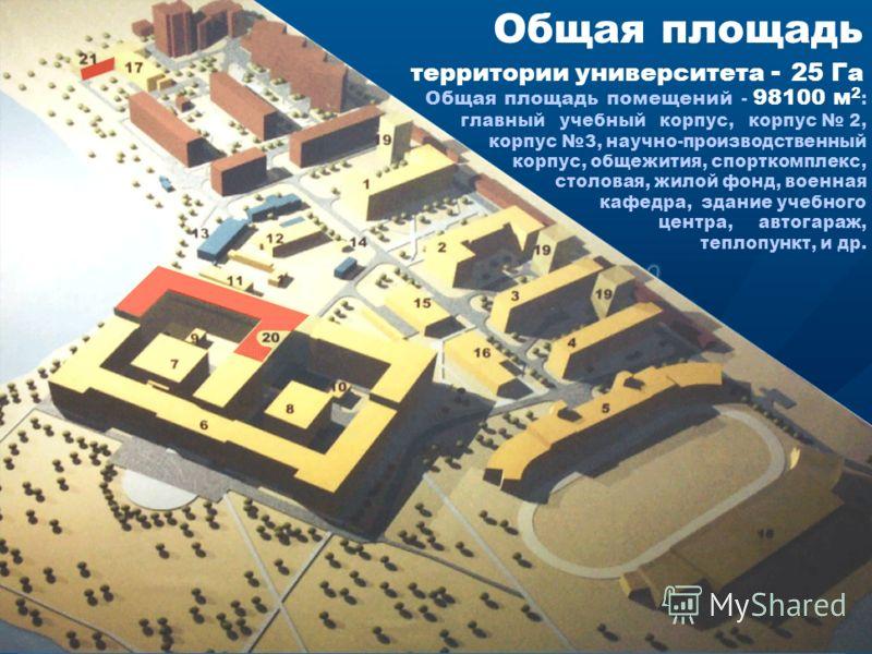 Общая площадь территории университета - 25 Га Общая площадь помещений - 98100 м 2 : главный учебный корпус, корпус 2, корпус 3, научно-производственный корпус, общежития, спорткомплекс, столовая, жилой фонд, военная кафедра, здание учебного центра, а