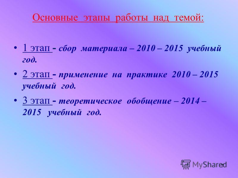 Основные этапы работы над темой: 1 этап - сбор материала – 2010 – 2015 учебный год. 2 этап - применение на практике 2010 – 2015 учебный год. 3 этап - теоретическое обобщение – 2014 – 2015 учебный год. 7