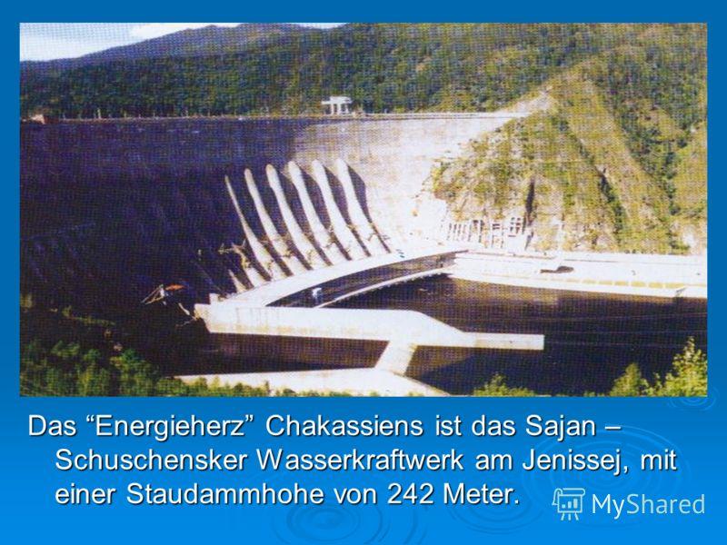 Das Energieherz Chakassiens ist das Sajan – Schuschensker Wasserkraftwerk am Jenissej, mit einer Staudammhohe von 242 Meter.