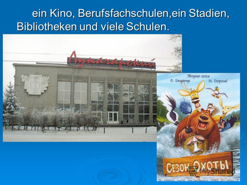 ein Kino, Berufsfachschulen,ein Stadien, Bibliotheken und viele Schulen.