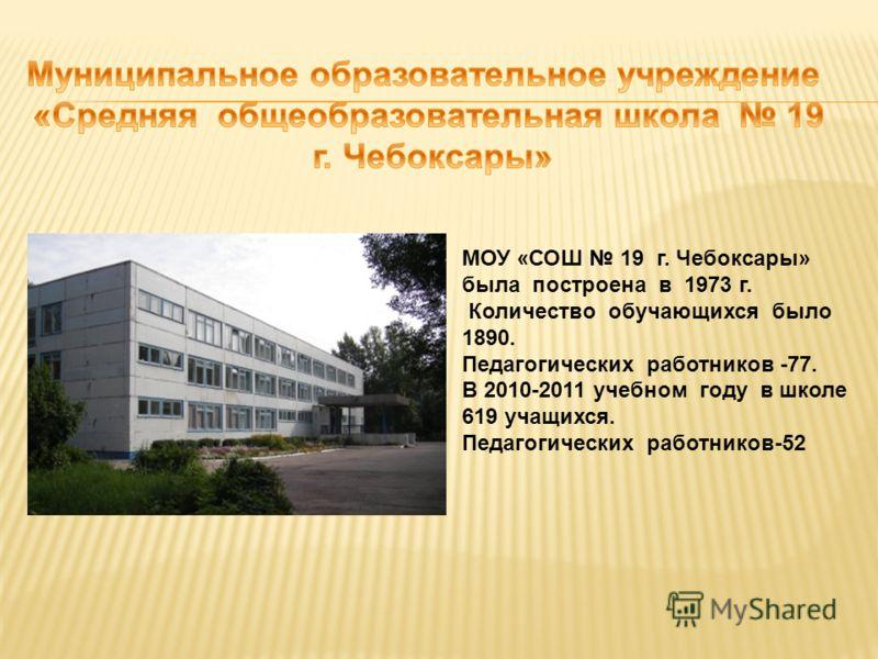 МОУ «СОШ 19 г. Чебоксары» была построена в 1973 г. Количество обучающихся было 1890. Педагогических работников -77. В 2010-2011 учебном году в школе 619 учащихся. Педагогических работников-52