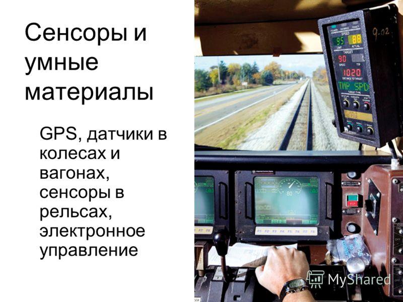 Сенсоры и умные материалы GPS, датчики в колесах и вагонах, сенсоры в рельсах, электронное управление