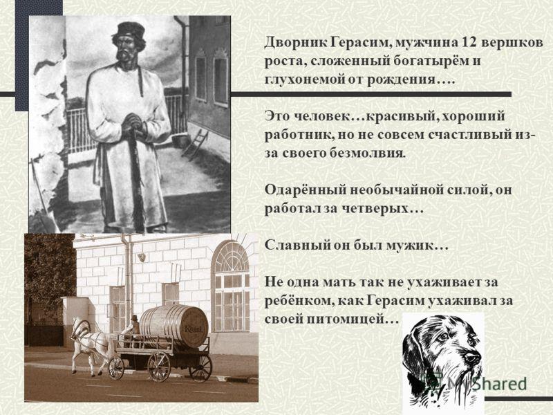 Дворник Герасим, мужчина 12 вершков роста, сложенный богатырём и глухонемой от рождения…. Это человек…красивый, хороший работник, но не совсем счастливый из- за своего безмолвия. Одарённый необычайной силой, он работал за четверых… Славный он был муж
