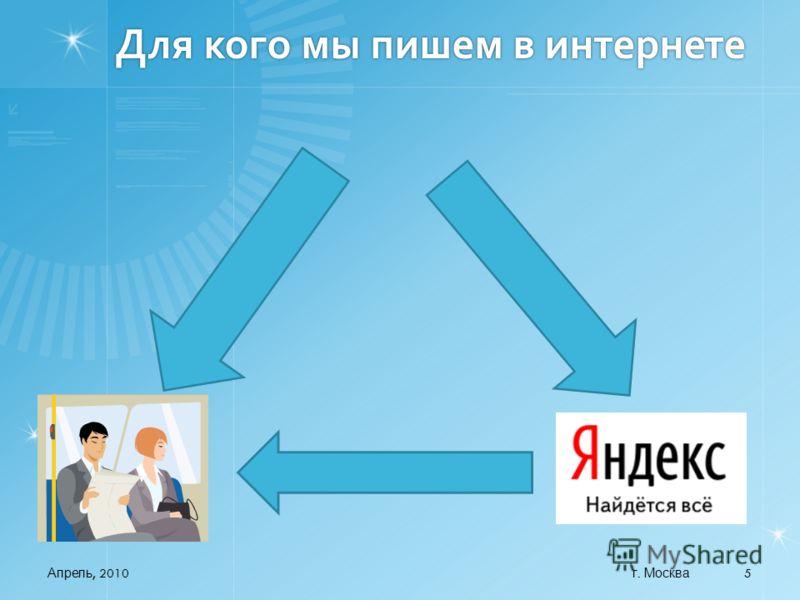 Для кого мы пишем в интернете Апрель, 2010 5 г. Москва