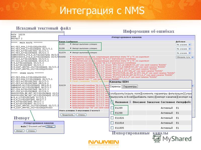 Интеграция с NMS Импортированные каналы Информация об ошибках Импорт Исходный текстовый файл