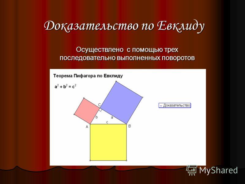 Доказательство по Евклиду Осуществлено с помощью трех последовательно выполненных поворотов