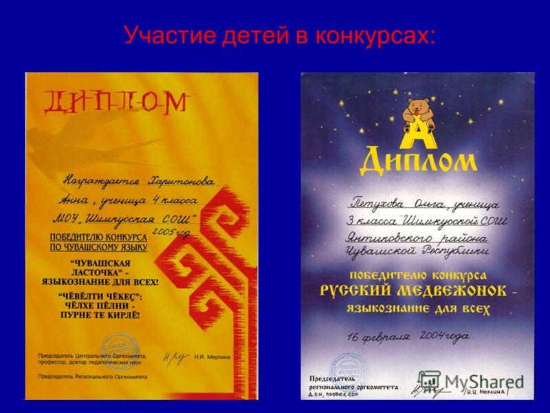 Участие детей в конкурсах: