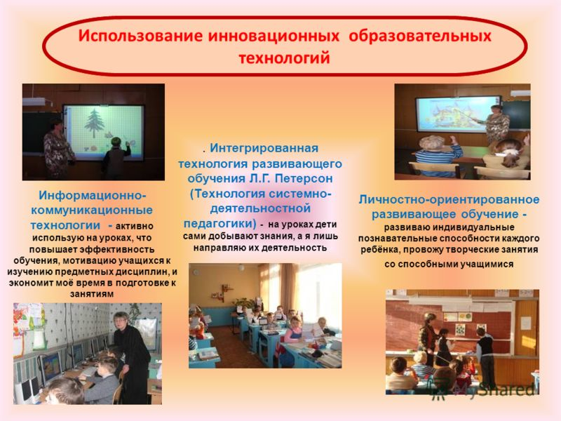 Использование инновационных образовательных технологий. Интегрированная технология развивающего обучения Л.Г. Петерсон (Технология системно- деятельностной педагогики) - на уроках дети сами добывают знания, а я лишь направляю их деятельность Информац