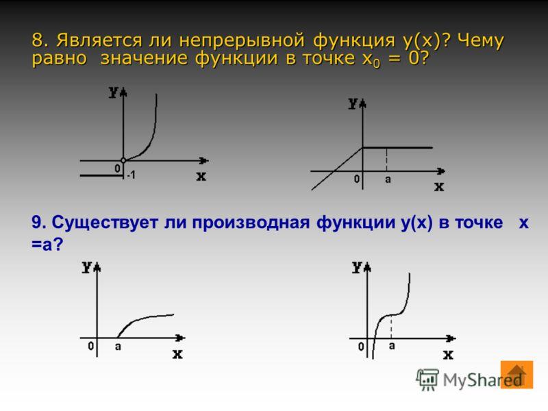 1. Физический смысл производной в точке… (скорость как производная от перемещения по времени) 2. Величина, которая может принимать различные значения… (переменная) 3. Производная от скорости по времени есть … (ускорение) 4. Если на интервале (a;b) фу