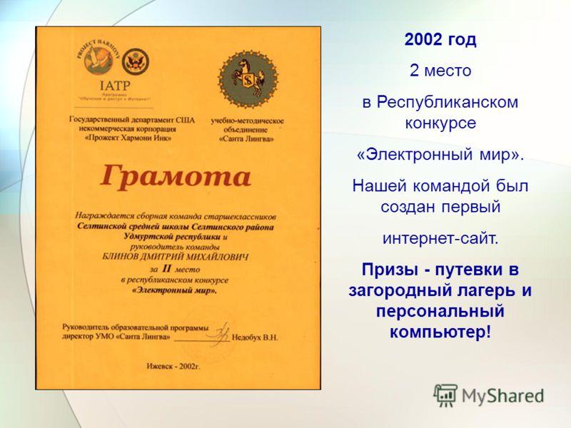 2002 год 2 место в Республиканском конкурсе «Электронный мир». Нашей командой был создан первый интернет-сайт. Призы - путевки в загородный лагерь и персональный компьютер!