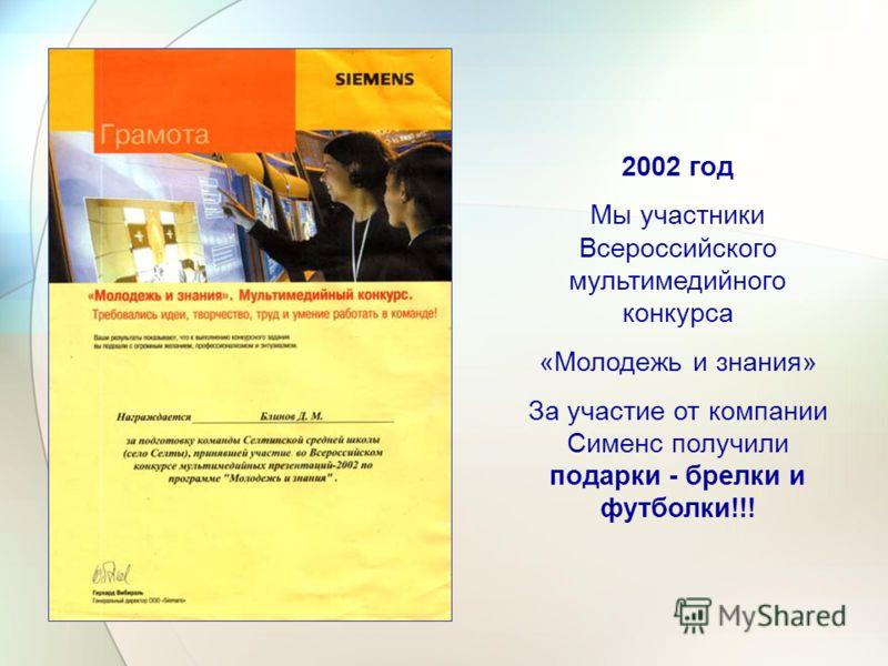 2002 год Мы участники Всероссийского мультимедийного конкурса «Молодежь и знания» За участие от компании Сименс получили подарки - брелки и футболки!!!