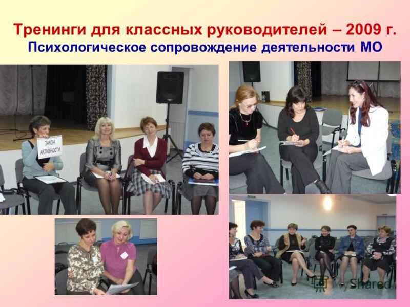 Тренинги для классных руководителей – 2009 г. Психологическое сопровождение деятельности МО