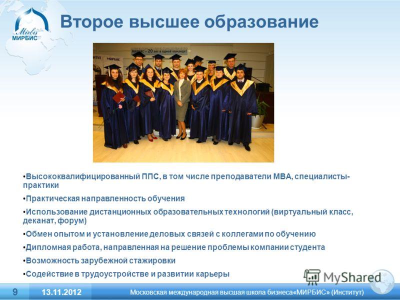 Второе высшее образование Высококвалифицированный ППС, в том числе преподаватели МВА, специалисты- практики Практическая направленность обучения Использование дистанционных образовательных технологий (виртуальный класс, деканат, форум) Обмен опытом и