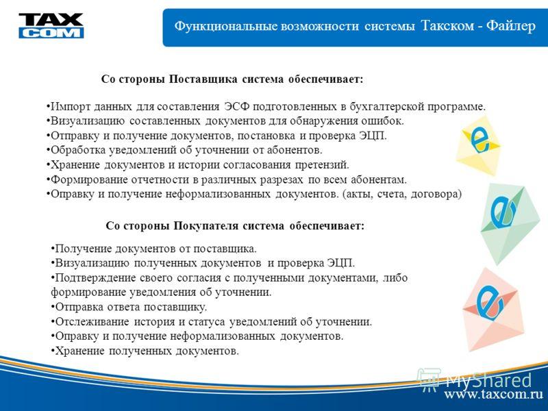 www.taxcom.ru Со стороны Поставщика система обеспечивает: Импорт данных для составления ЭСФ подготовленных в бухгалтерской программе. Визуализацию составленных документов для обнаружения ошибок. Отправку и получение документов, постановка и проверка