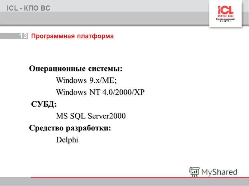 13 Программная платформа ICL - КПО ВС Операционные системы: Windows 9.x/ME; Windows 9.x/ME; Windows NT 4.0/2000/XP Windows NT 4.0/2000/XP СУБД: СУБД: MS SQL Server2000 MS SQL Server2000 Средство разработки: Delphi Delphi