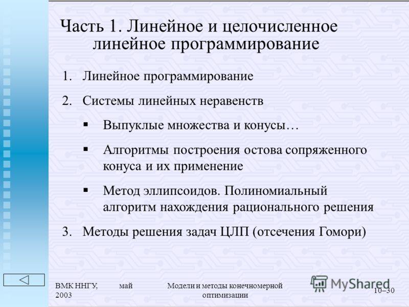 ВМК ННГУ, май 2003 Модели и методы конечномерной оптимизации 10–30 Часть 1. Линейное и целочисленное линейное программирование 1.Линейное программирование 2.Системы линейных неравенств Выпуклые множества и конусы… Алгоритмы построения остова сопряжен