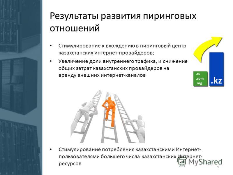 Результаты развития пиринговых отношений Стимулирование к вхождению в пиринговый центр казахстанских интернет-провайдеров; Увеличение доли внутреннего трафика, и снижение общих затрат казахстанских провайдеров на аренду внешних интернет-каналов 9 Сти
