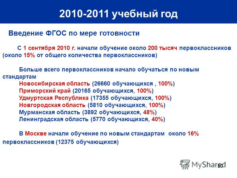 30 2010-2011 учебный год Введение ФГОС по мере готовности С 1 сентября 2010 г. начали обучение около 200 тысяч первоклассников (около 15% от общего количества первоклассников) Больше всего первоклассников начало обучаться по новым стандартам Новосиби