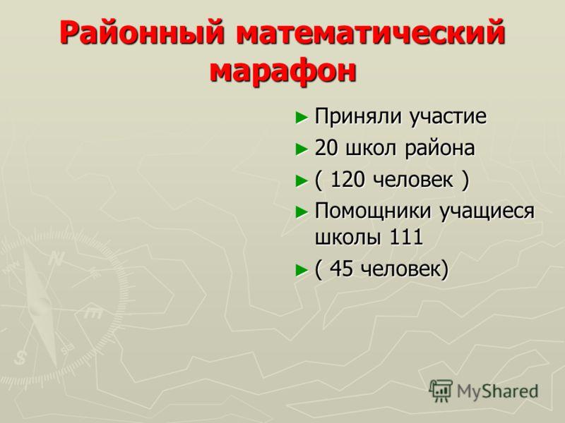 Районный математический марафон Приняли участие 20 школ района ( 120 человек ) Помощники учащиеся школы 111 ( 45 человек)