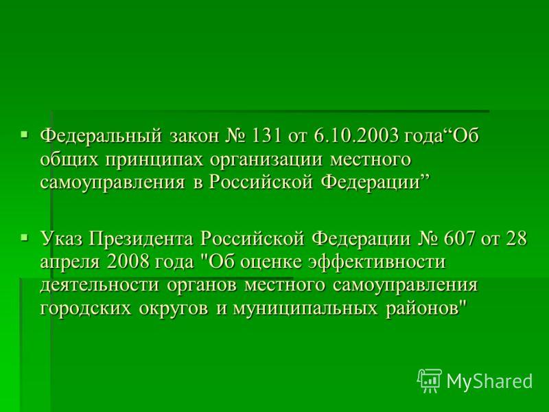 Федеральный закон 131 от 6.10.2003 годаОб общих принципах организации местного самоуправления в Российской Федерации Федеральный закон 131 от 6.10.2003 годаОб общих принципах организации местного самоуправления в Российской Федерации Указ Президента