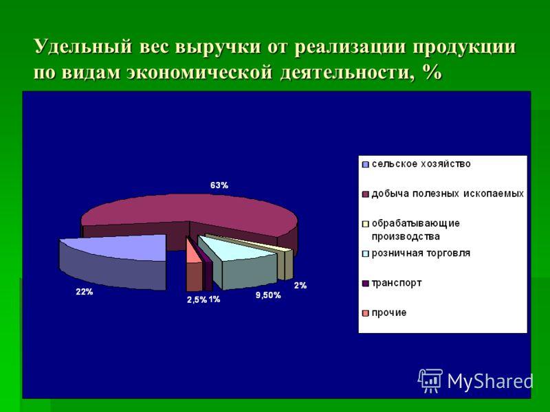 Удельный вес выручки от реализации продукции по видам экономической деятельности, %