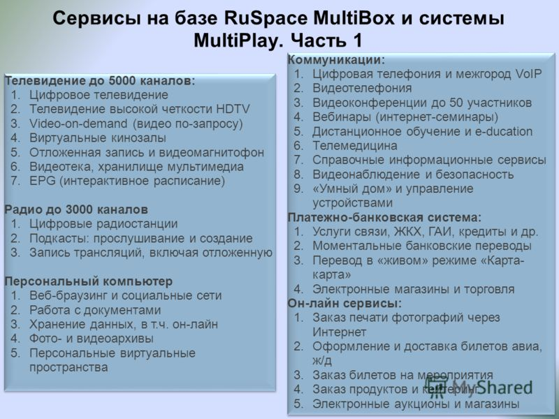 Сервисы на базе RuSpace MultiBox и системы MultiPlay. Часть 1 Телевидение до 5000 каналов: 1.Цифровое телевидение 2.Телевидение высокой четкости HDTV 3.Video-on-demand (видео по-запросу) 4.Виртуальные кинозалы 5.Отложенная запись и видеомагнитофон 6.