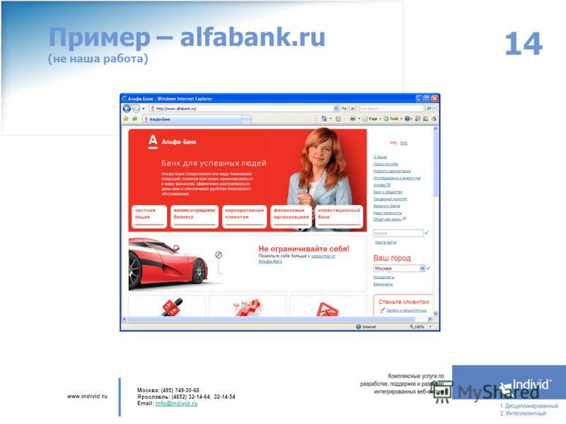 www.individ.ru Москва: (495) 749-30-68 Ярославль: (4852) 32-14-64, 32-14-54 Email: info@individ.ruinfo@individ.ru 14 Пример – alfabank.ru (не наша работа)