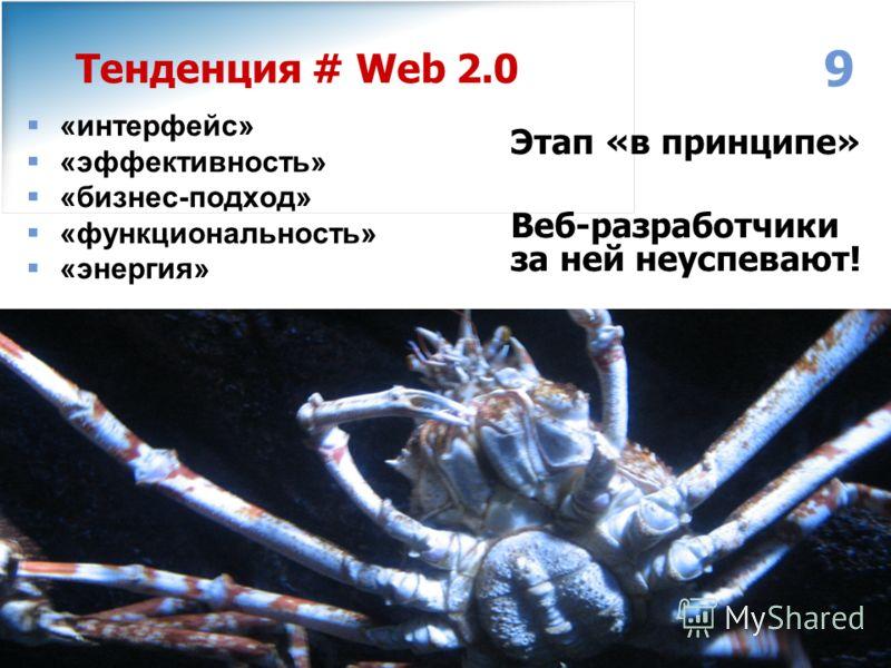 www.individ.ru Москва: (495) 749-30-68 Ярославль: (4852) 32-14-64, 32-14-54 Email: info@individ.ruinfo@individ.ru 9 Тенденция # Web 2.0 «интерфейс» «эффективность» «бизнес-подход» «функциональность» «энергия» Этап «в принципе» Веб-разработчики за ней