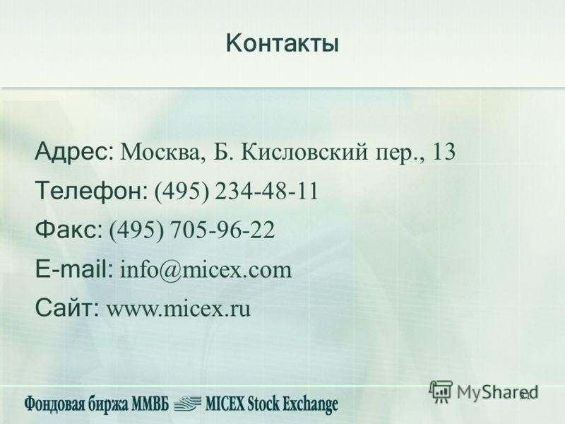 31 Контакты Адрес: Москва, Б. Кисловский пер., 13 Телефон: (495) 234-48-11 Факс: (495) 705-96-22 E-mail: info@micex.com Сайт: www.micex.ru