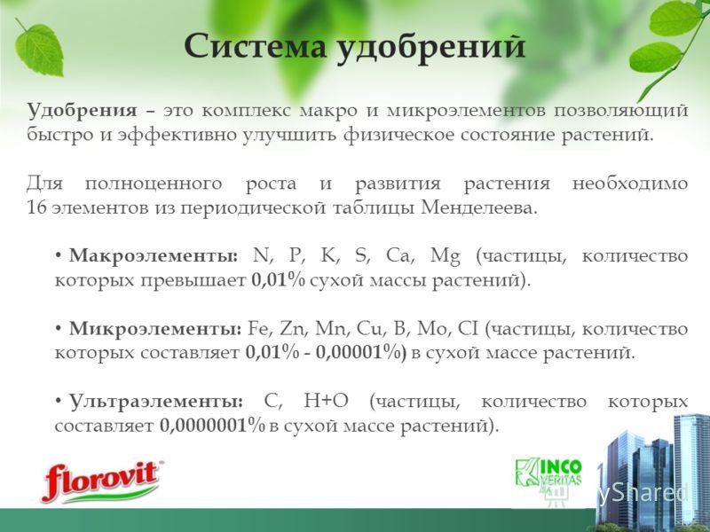 Удобрения – это комплекс макро и микроэлементов позволяющий быстро и эффективно улучшить физическое состояние растений. Для полноценного роста и развития растения необходимо 16 элементов из периодической таблицы Менделеева. Макроэлементы: N, P, K, S,